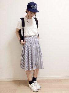 ストライプスカートで爽やかな女子高生の春夏コーデで爽やかに!