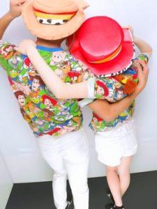 ディズニー総柄Tシャツを使った全身お揃いコーデ