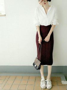 白シャツとタイトスカートの女っぽコーデ♡
