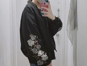 黒MA-1花柄刺繍 レディースレディースコーデ