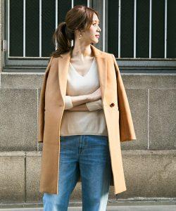 【URBAN RESEARCH DOORS WOMANS】 DOORSウール素材キャメルのチェスターコート
