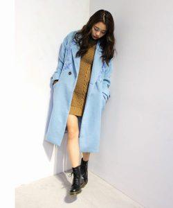 【jouetie】 刺繍付きパステルブルーのチェスターコート