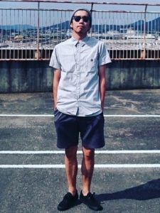 The refreshing blue coordinates of a shirt and short pants!
