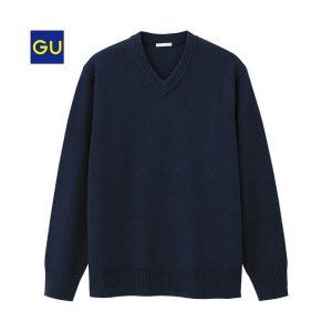 GUのラムウールをブレンドした柔らかい肌触りのラムブレンドVネックセーター!