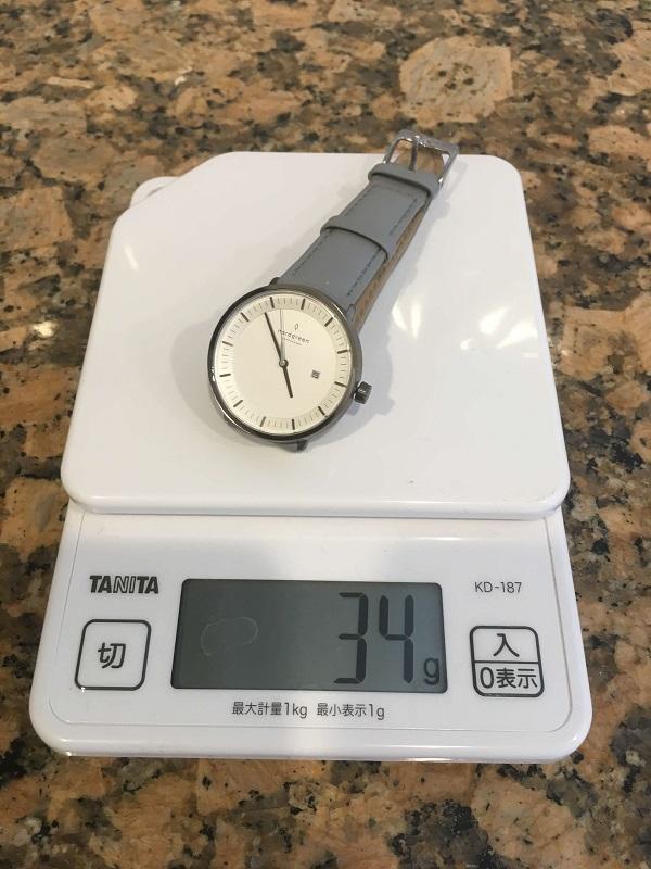 Nordgreen(ノードグリーン)の重さは34gで軽い