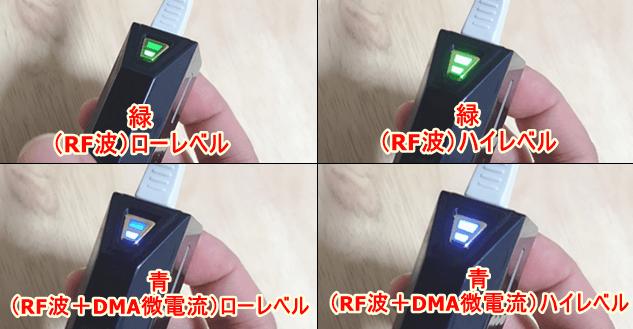 緑と青色のライトでモードが変更できる
